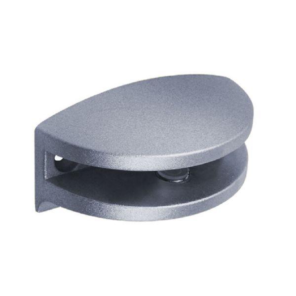 Soporte ovalado para estante cristal. 3-6 mm.Cromo brillo.